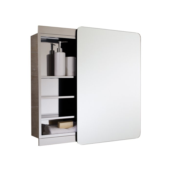 Slide Stainless Steel Single Cabinet with Sliding Mirrored Door.(H)700x(W)500x(D)140mm