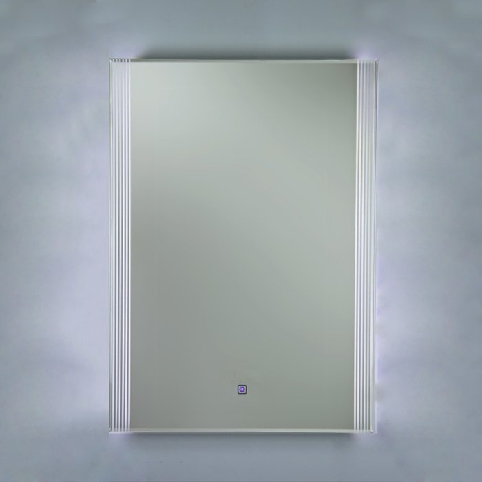 Reflections 5 High Gloss White Framed Mirror, with LED Side Lights, On/Off Sensor Switch and Demister Pad (H) 700x(W)500mm