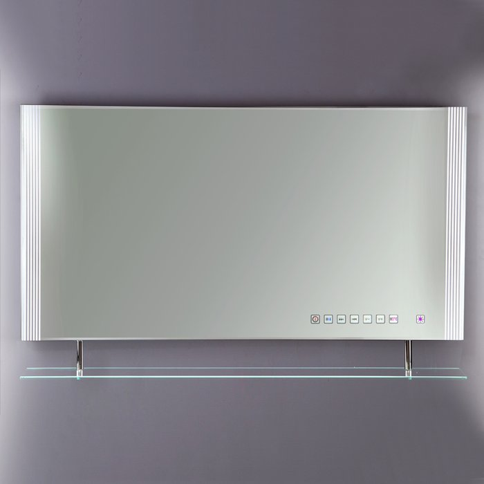 Reflections 85 High Gloss White Framed Mirror, with LED Side Lights, On/Off Sensor Switch, Demister Pad and MP3 Port (H)450x(W)850mm
