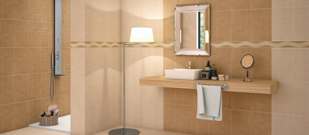 10074 Beige and Brown tiles Country style Bathroom