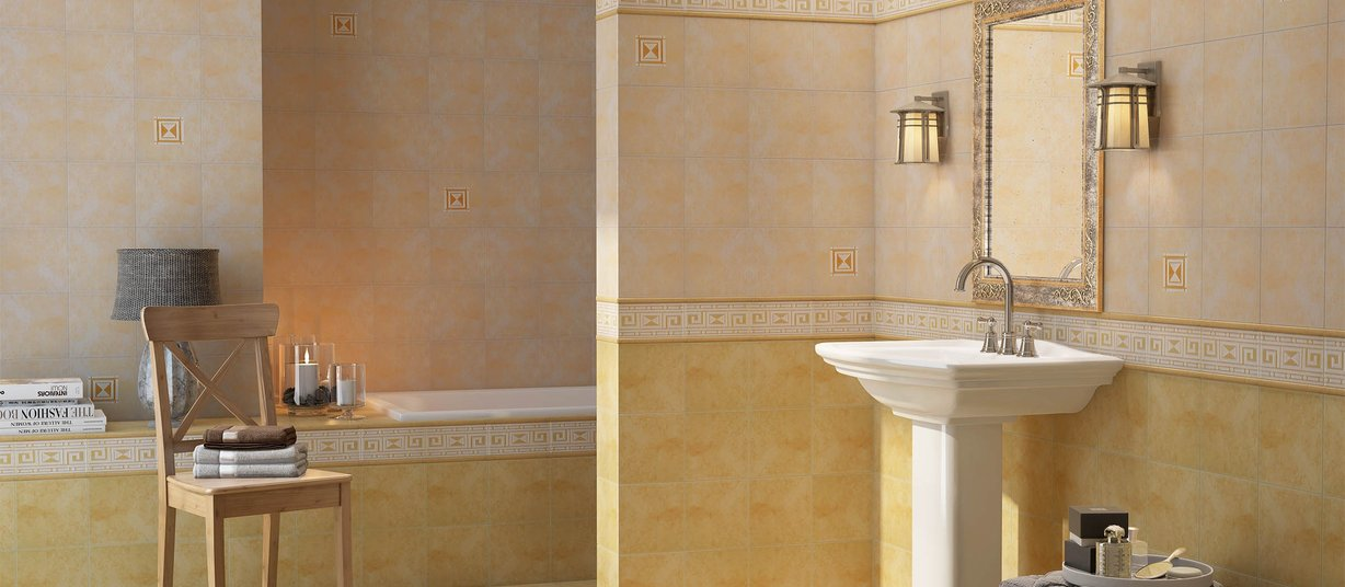 6068 Beige, Pink and Yellow tiles Classic style Bathroom