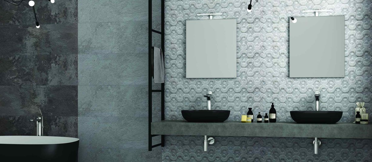 acer stone Grey tiles Modern style Bathroom