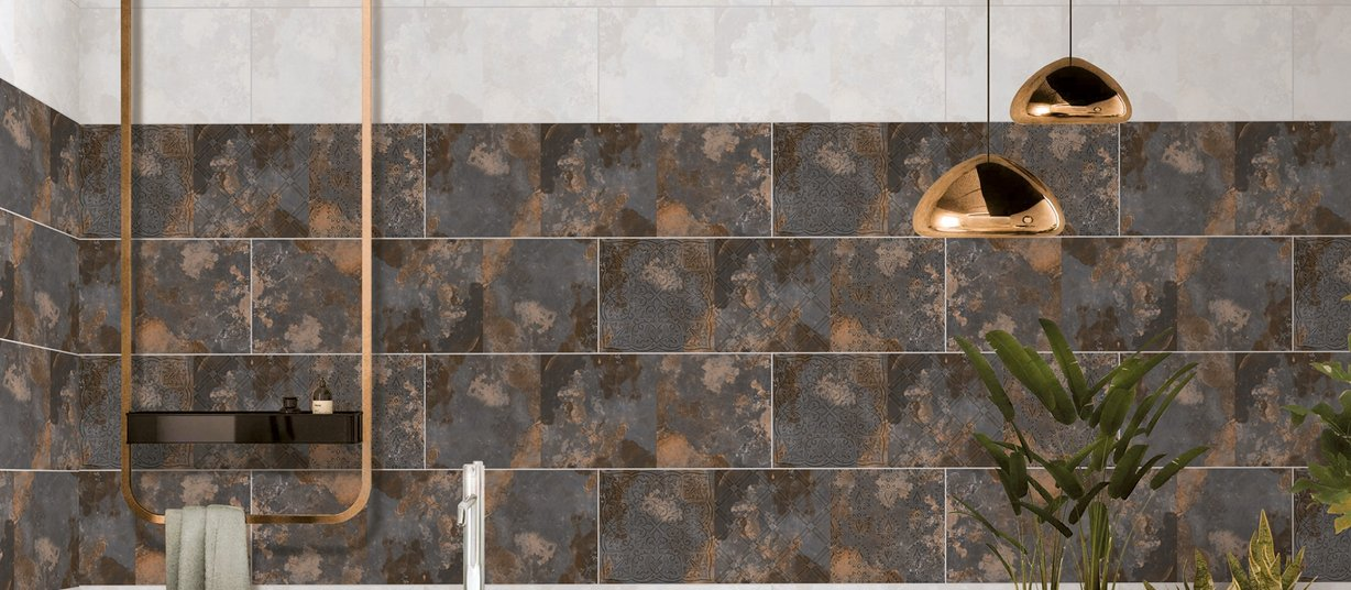 african Brown, Mix and White tiles Modern style Bathroom