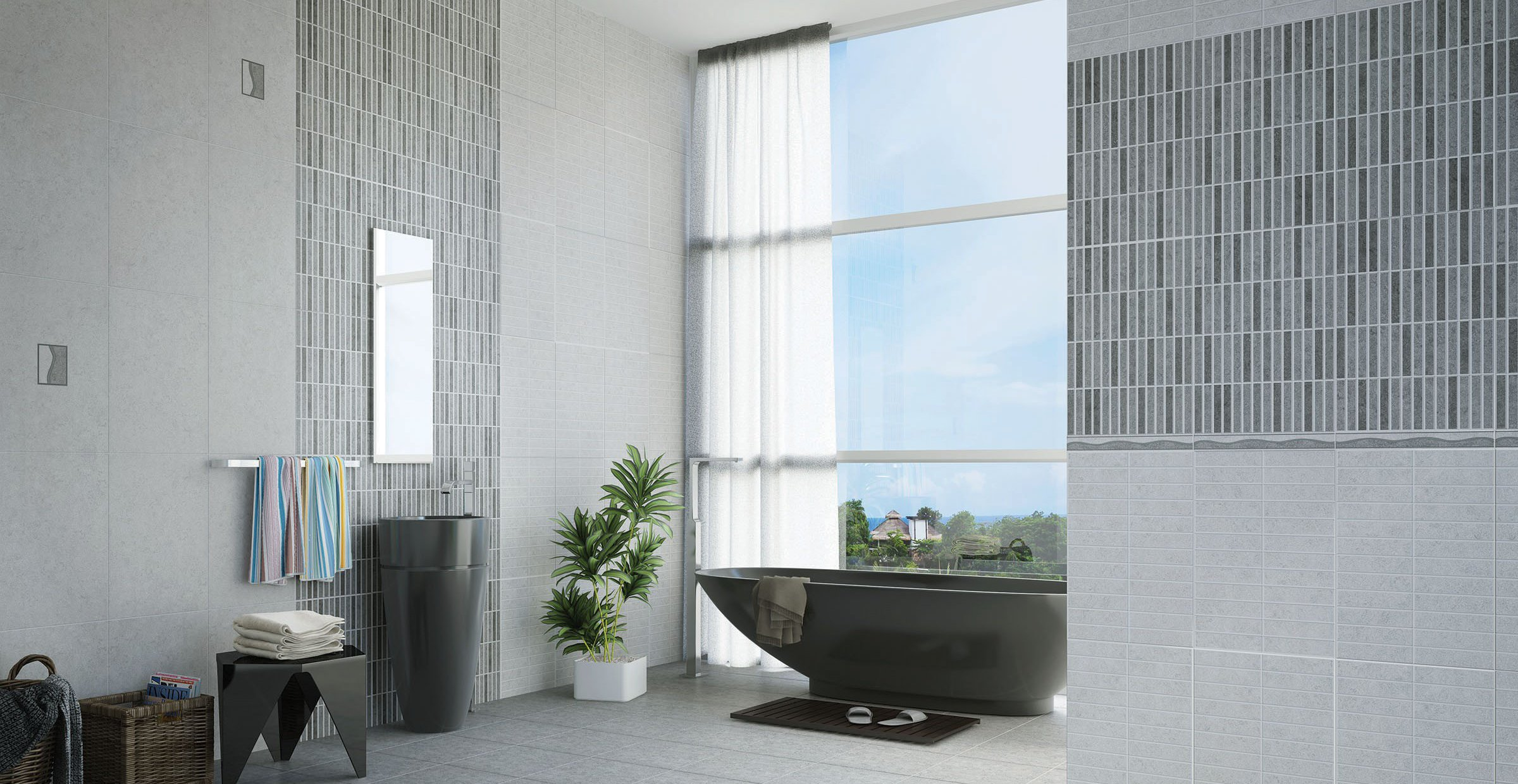 alicante Grey and White tiles Modern style Bathroom