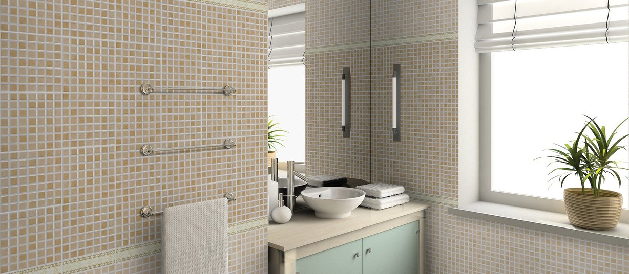 alms Beige and Ivory tiles Modern style Bathroom