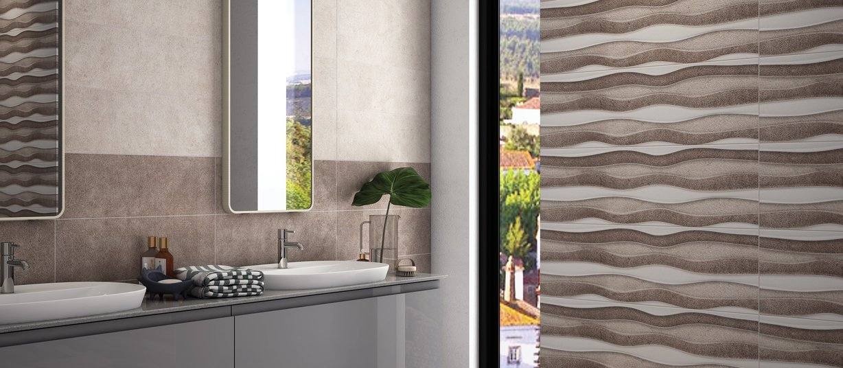 Andrix Brown, Ivory and Mix tiles Modern style Bathroom