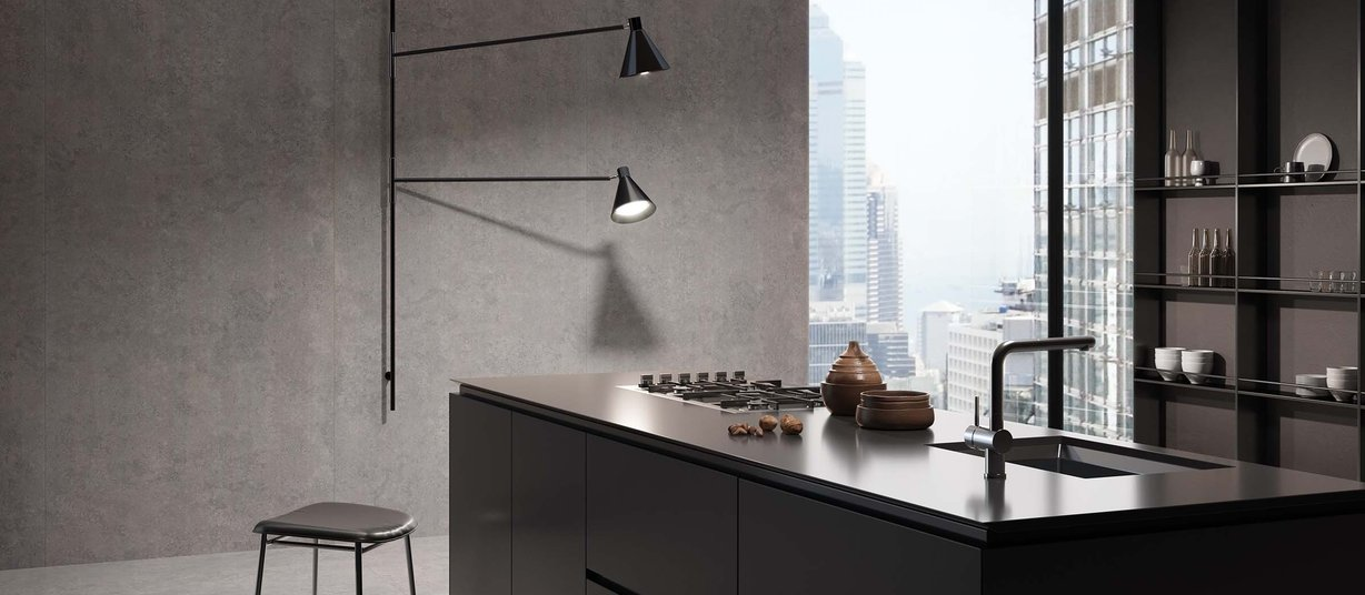 Aragon concrete Brown tiles Modern style Kitchen