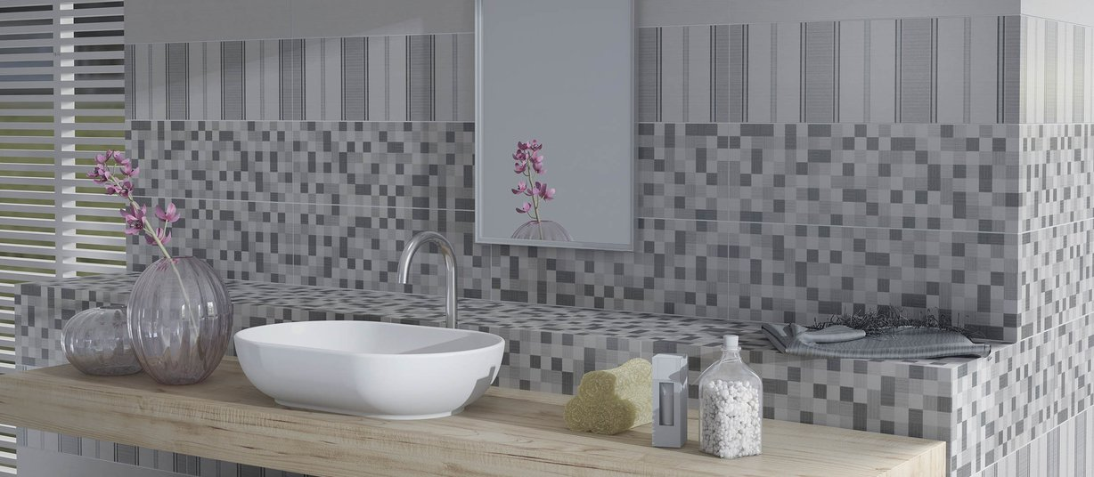 aralia Grey tiles Modern style Bathroom