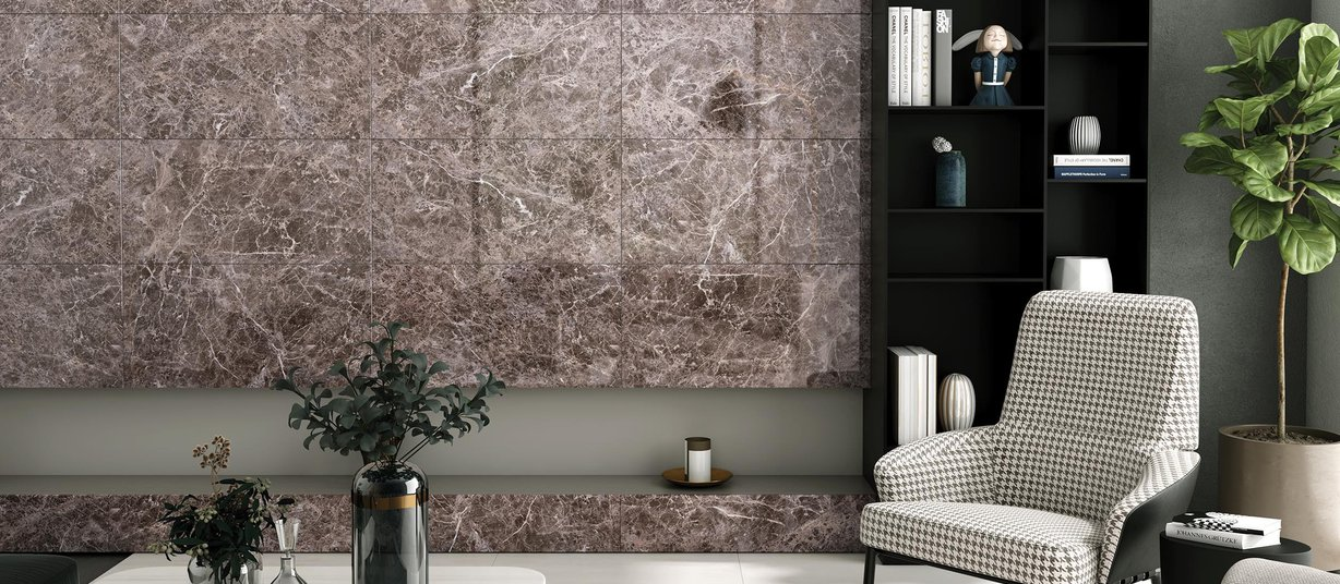 Arcate Beige and Brown tiles Modern style Living room Tiles