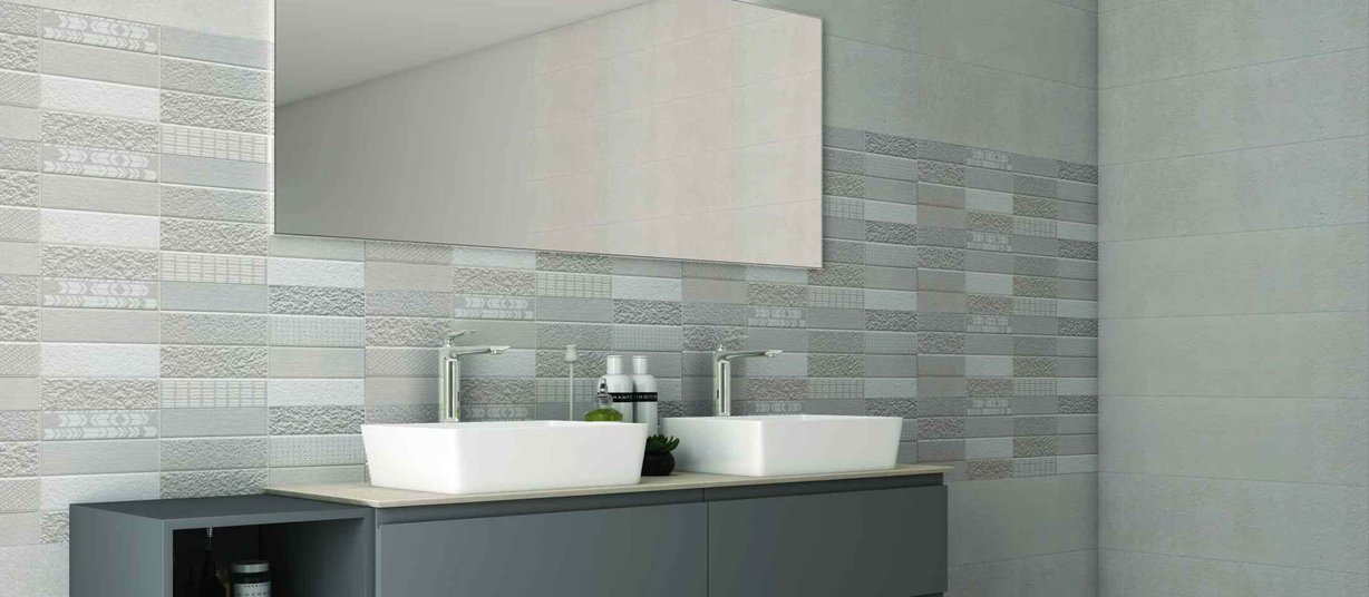 archer Grey and Mix tiles Modern style Bathroom
