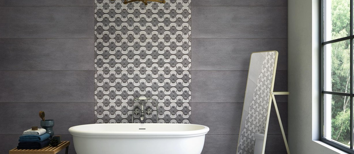 arora Grey and Mix tiles Modern style Bathroom