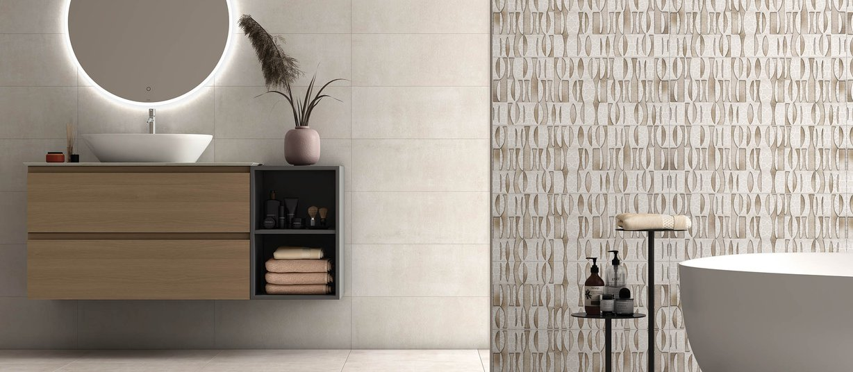 Artico Beige and Ivory tiles Modern style Bathroom