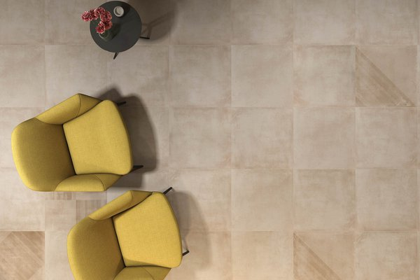 basic concrete Beige tiles Modern style Living