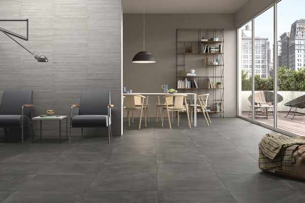 basic concrete Grey tiles Modern style Living