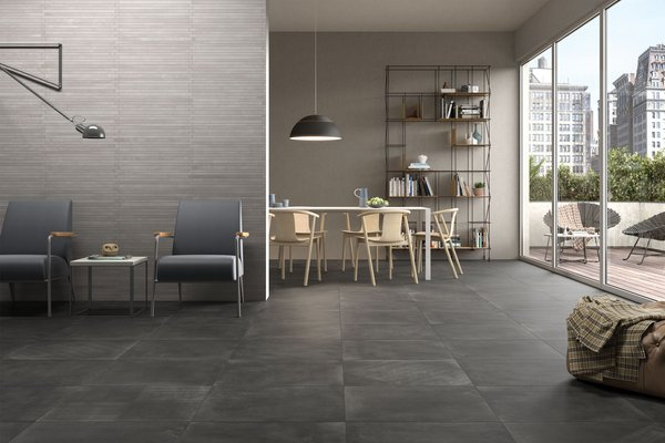 basic concrete Beige, Black and Grey tiles Modern style Living