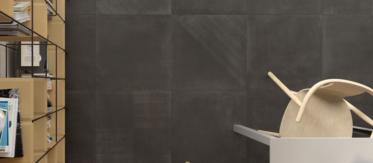 basic concrete Anthracite and Black tiles Modern style Kitchen