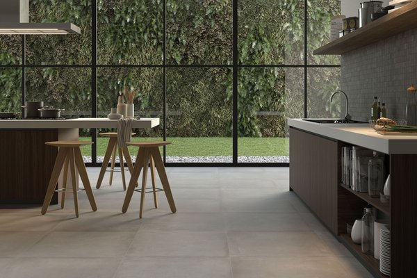 basic concrete Beige tiles Modern style Kitchen