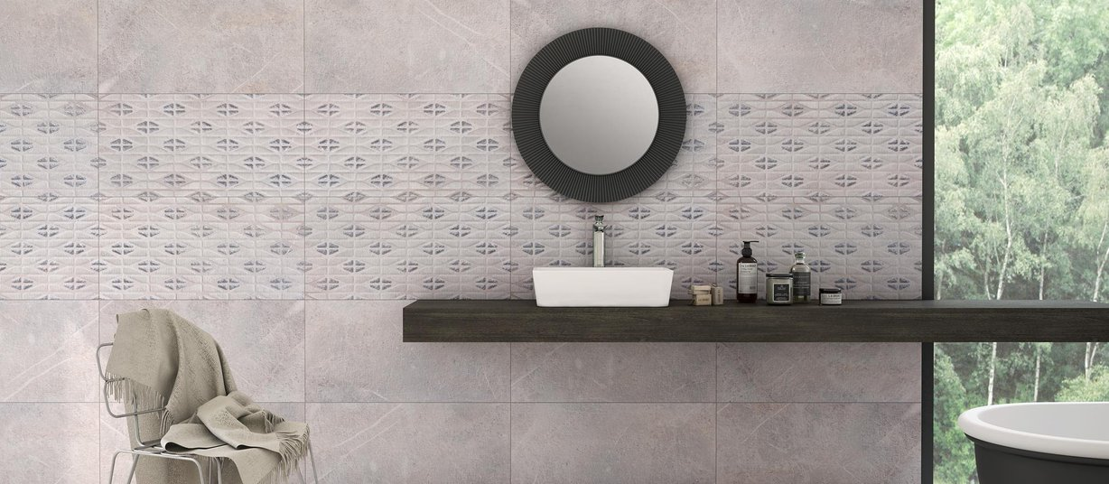 bassano Grey, Mix and White tiles Modern style Bathroom