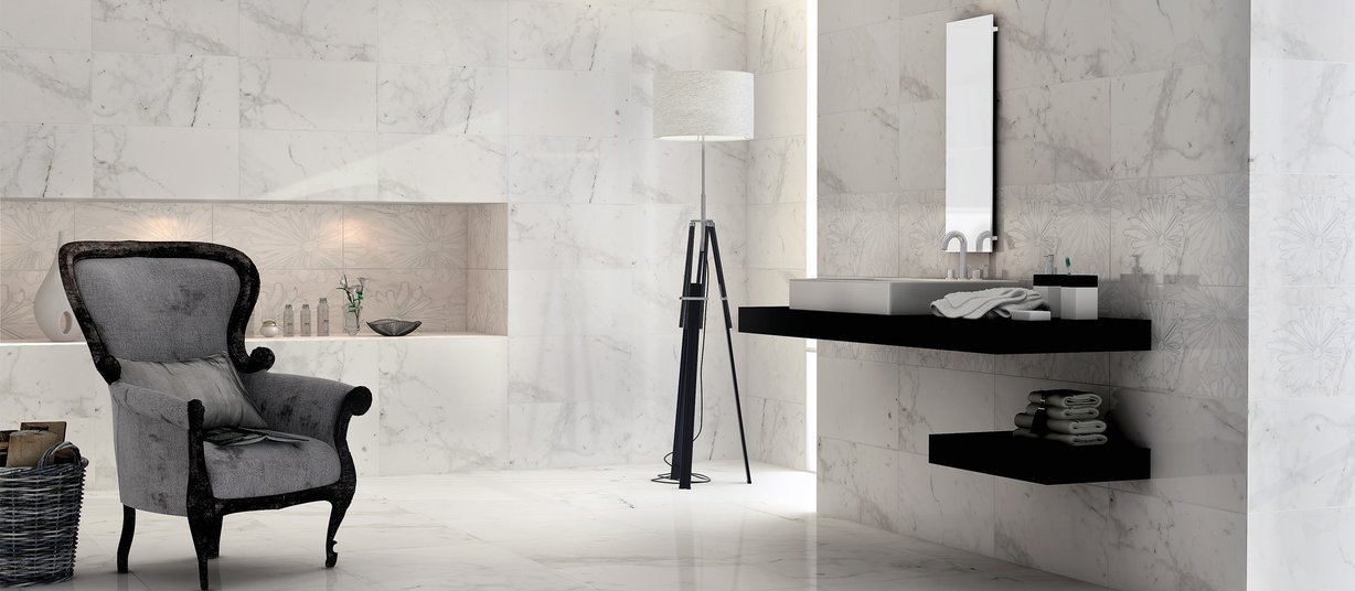 bianco vena White tiles Modern style Bathroom