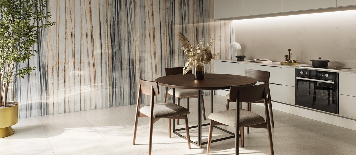 Calacatta cielo Mix and White tiles Modern style Living room Tiles