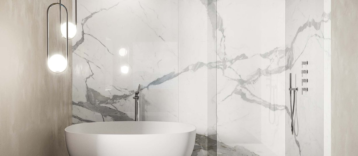 calacatta extra White tiles Modern style Bathroom