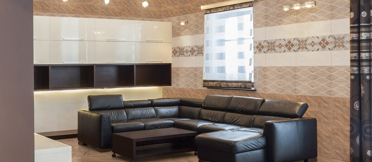 calay Brown, Mix and White tiles Modern style Living