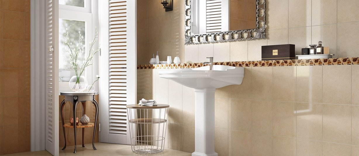 calixto Beige and Brown tiles Classic style Bathroom