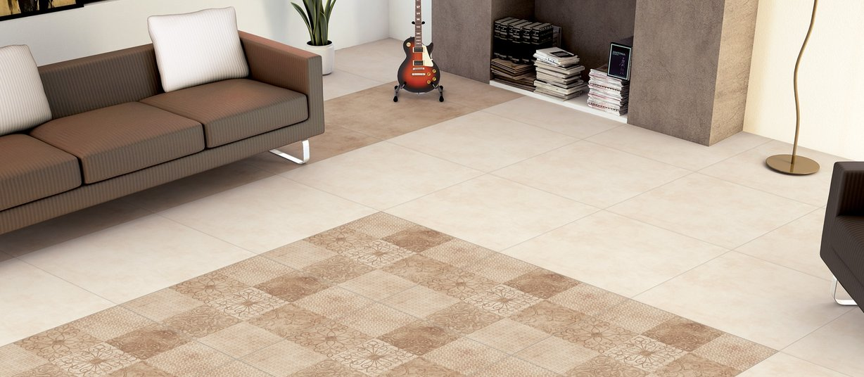 cement Beige, Ivory and Mix tiles Modern style Living