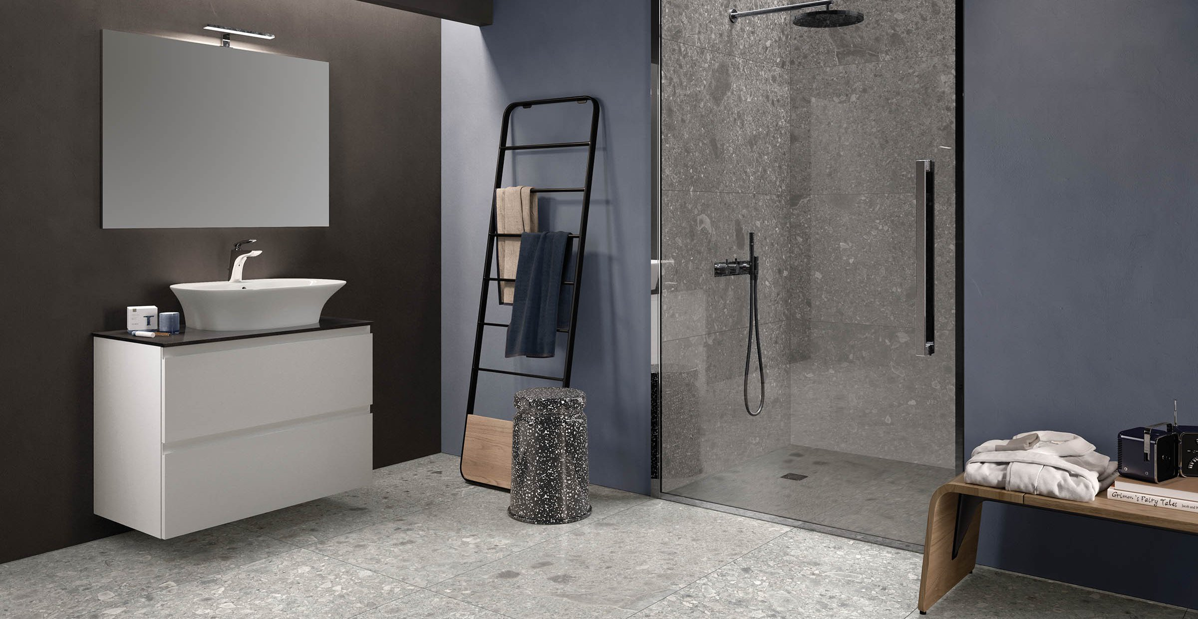ceppo di gre' stone Grey tiles Modern style Bathroom