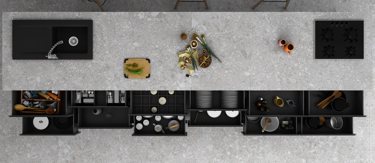 ceppo di gre' Grey tiles Modern style Kitchen