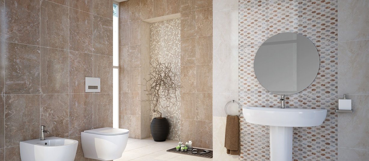 charm Beige and Ivory tiles Modern style Bathroom