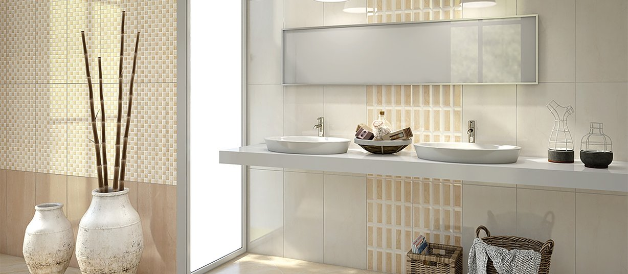 chemalite Beige, Brown, Ivory and White tiles Modern style Bathroom