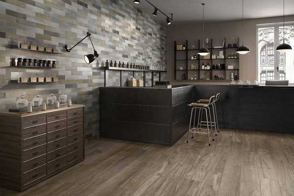 circle wood Mix tiles Modern style Kitchen