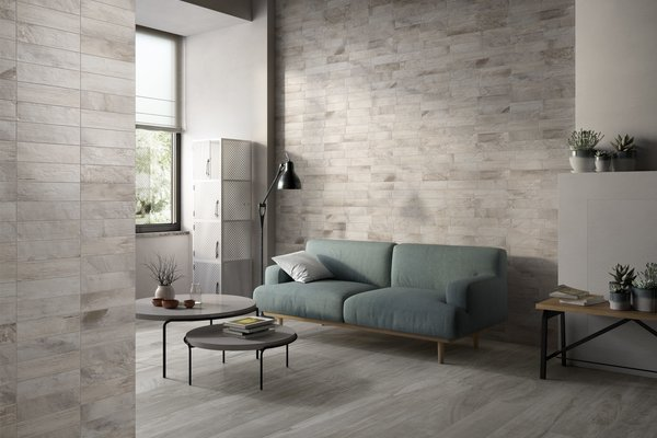 circle wood Grey tiles Modern style Living