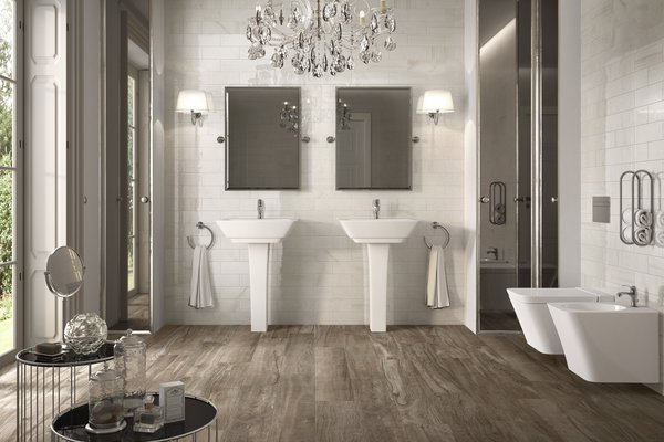 circle wood Brown and White tiles Modern style Bathroom