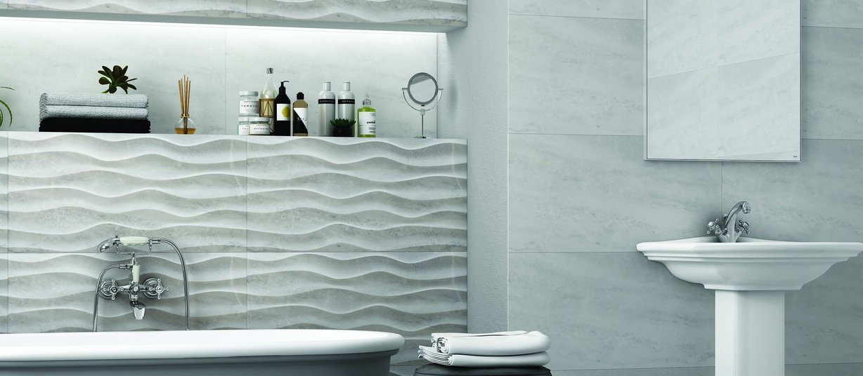 Cloudy Grey tiles Modern style Bathroom