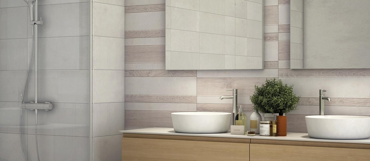 concrete wood Grey, Mix and White tiles Modern style Bathroom