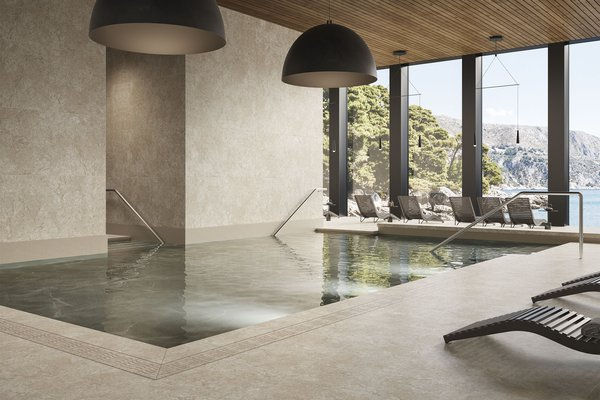 Coral stone Beige tiles Modern style Wellness and Swimming Pool Tiles