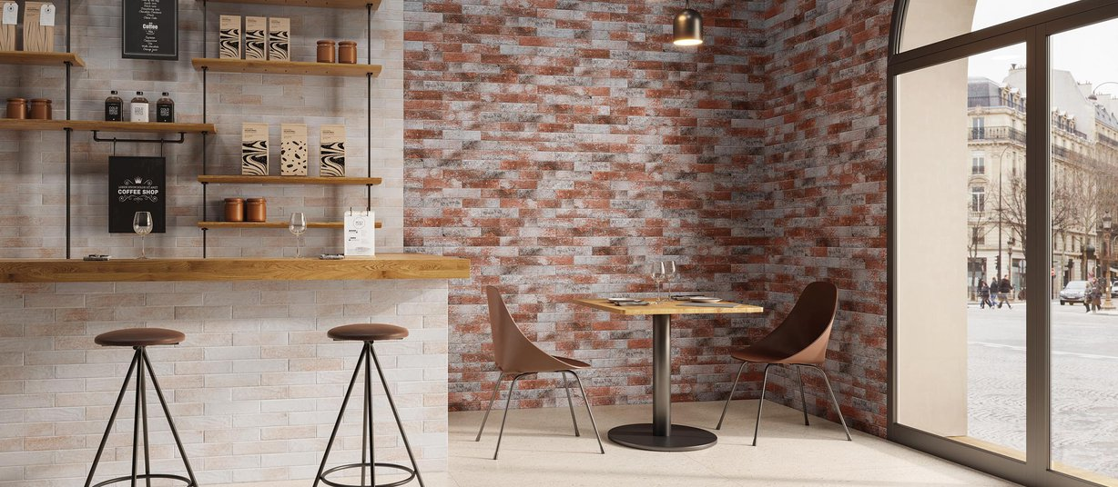 Cotto brick Brown and Ivory tiles Modern style Light Commercial Tiles