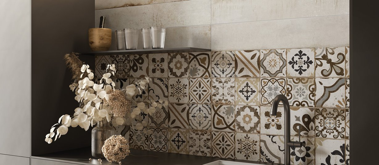 Cotto classic Ivory tiles Modern style Kitchen