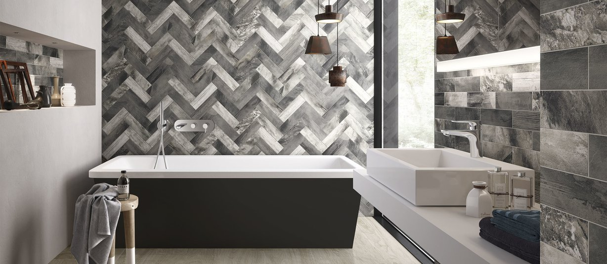 country brick Brown and Grey tiles Modern style Bathroom