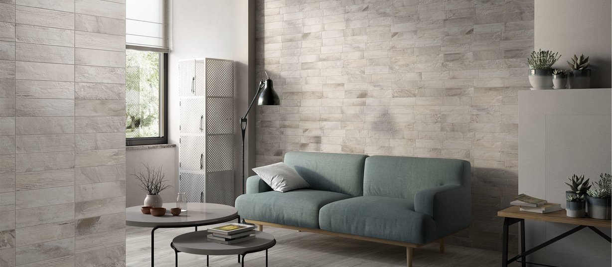 country brick Grey tiles Modern style Living