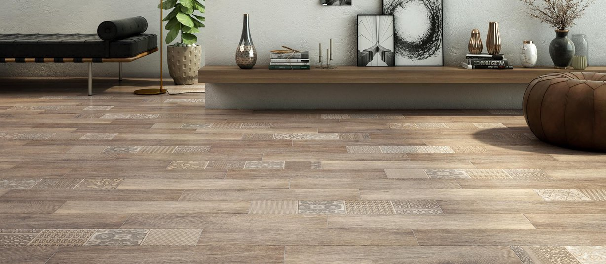 country wood Brown tiles Modern style Living