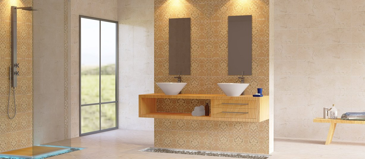 crema royale Beige and Ivory tiles Modern style Bathroom