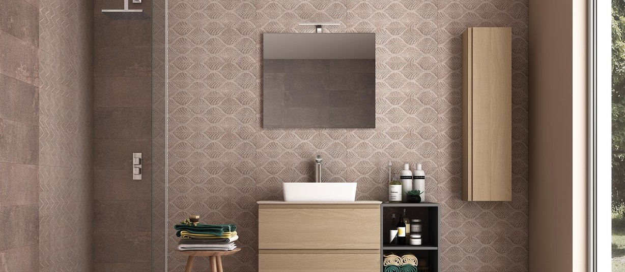 creta Brown and Mix tiles Modern style Bathroom