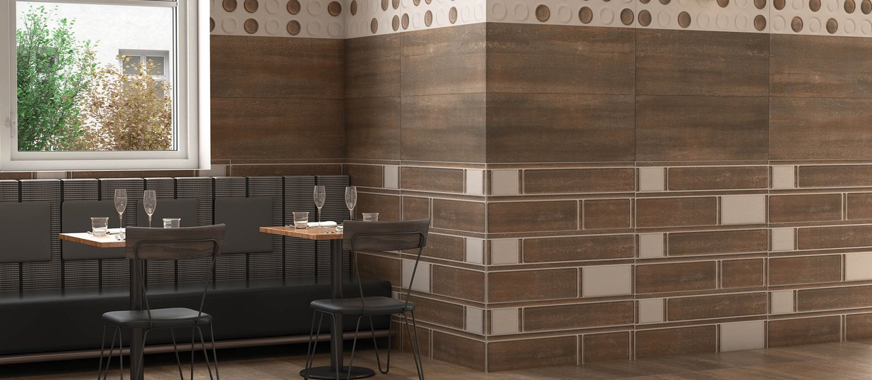 crust Brown and Ivory tiles Modern style Living