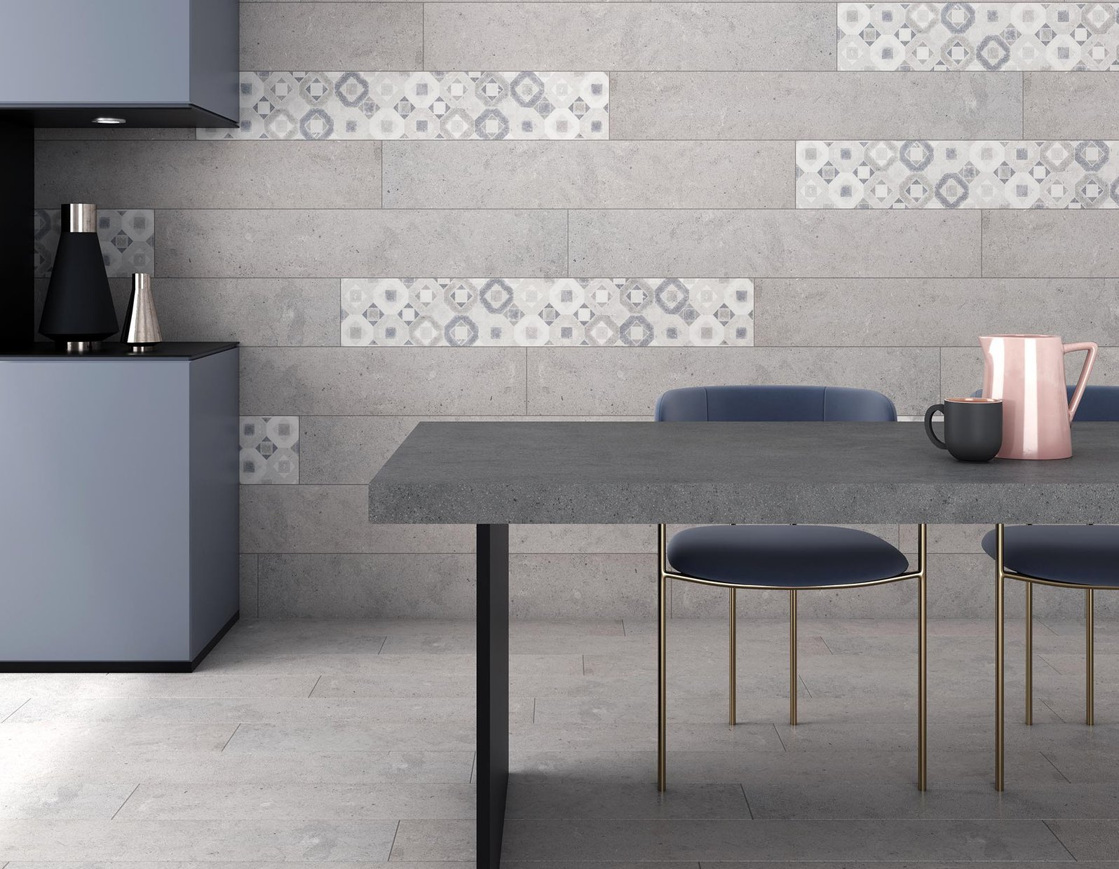 Delta concrecte Ivory and Mix tiles Modern style Living room Tiles