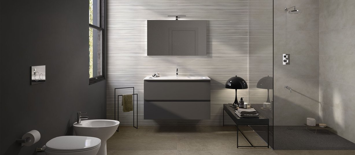 Design concrete Brown and Grey tiles Modern style Bathroom