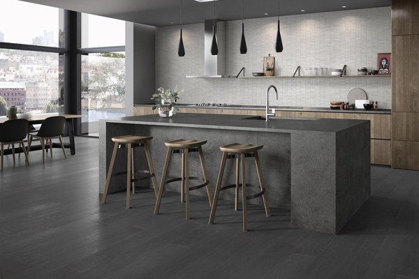 Design concrete Grey and White tiles Modern style Kitchen