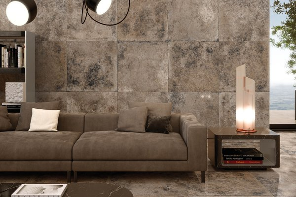 detroit metal Beige tiles Modern style Living